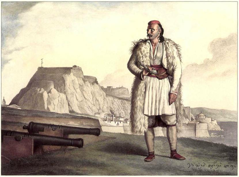 Πορτραίτο του Σουλιώτη Νικολού Περβόλη με θέα το Παλιό Φρούριο.
