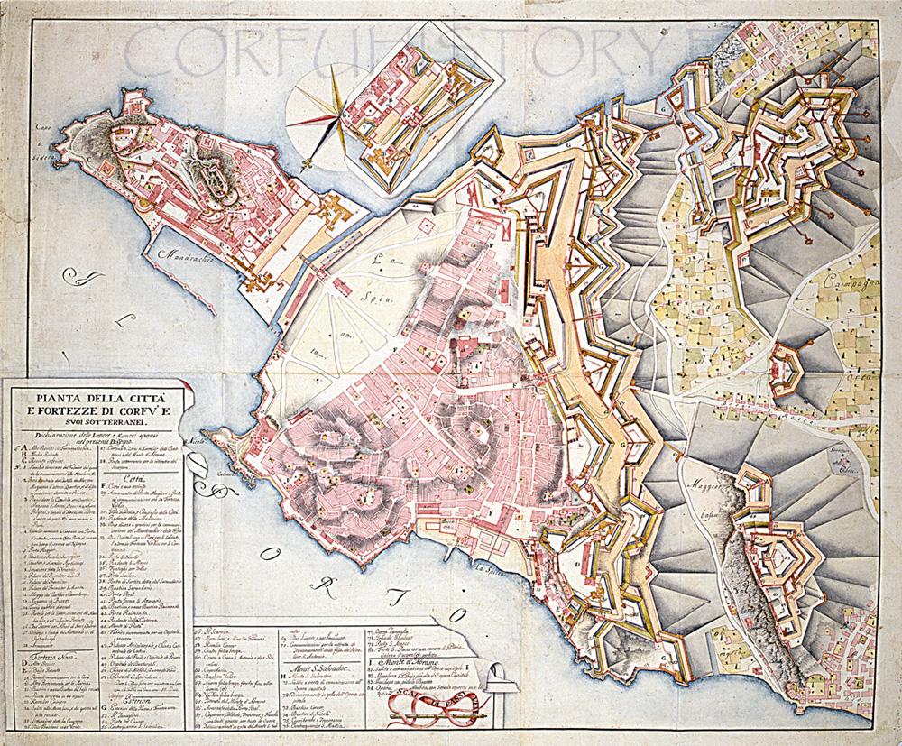 Ganassa Pianta della città e Fortezza di Corfù e suoi sotterranei