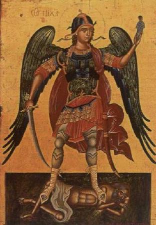 Εικ.3. Ο Αρχάγγελος Μιχαήλ. Αντώνιος Μυταράς, τέλη 16ου-αρχές 17ου αι. Ξύλο, αυγοτεμπερα. Βενετία. Ελληνικό Ινστιτούτο (AMI 217).