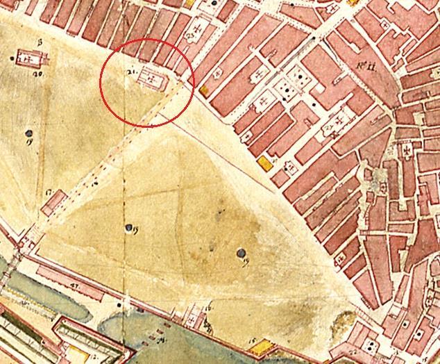 Χάρτης Honstein: Η Παναγία του Rosario, η Loggia της Σπιανάδας (κάτω αριστερα), και η Παναγία Πλατυτέρα στα αριστερά.