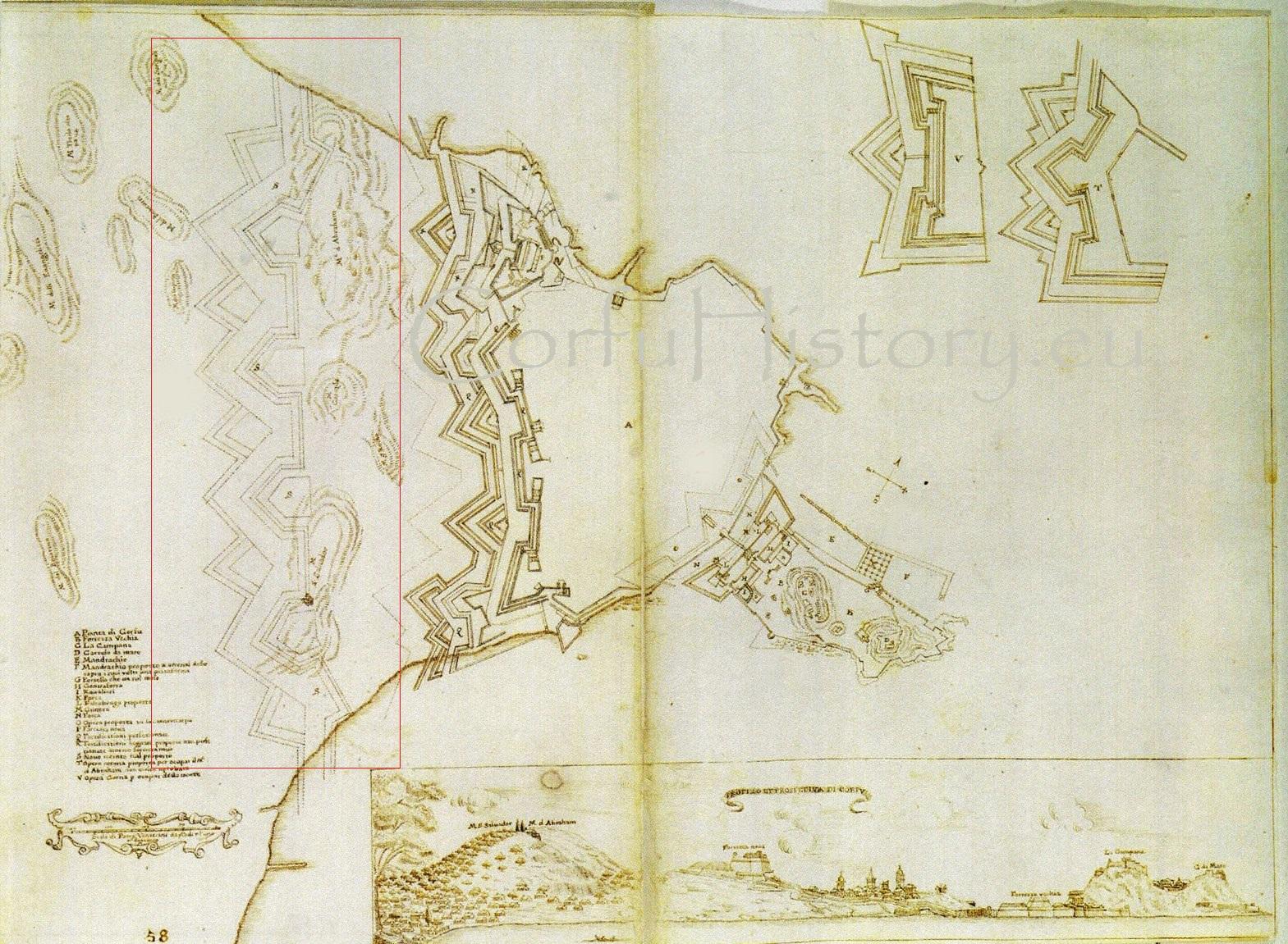 Οι δύο λόφοι του Αβράμη και Σωτήρα αποτελούσαν πραγματικό πονοκέφαλο για τους μηχανικούς της Βενετίας. Εδώ μια πρόταση του 18ου αι. με ένα νέο προμαχωνικό μέτωπο πέρα από τους λόφους.