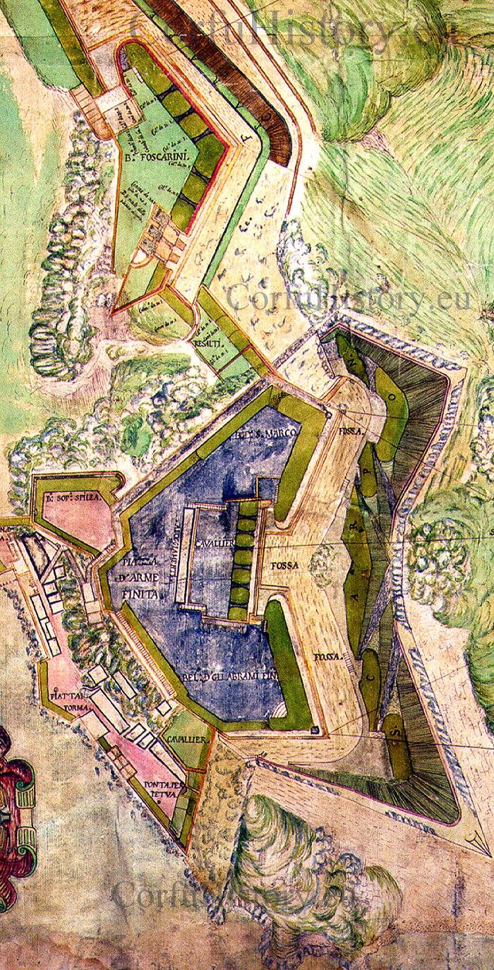 To Nέο Φρούριο «αναθεωρημένο» από τους Βενετούς μηχανικούς. Διακρίνεται ο Σκάρπωνας με τοιχοποιία.