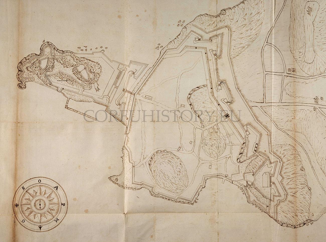 Σχέδιο του Βιτέλι με τις προτεινόμενες οχυρώσεις.