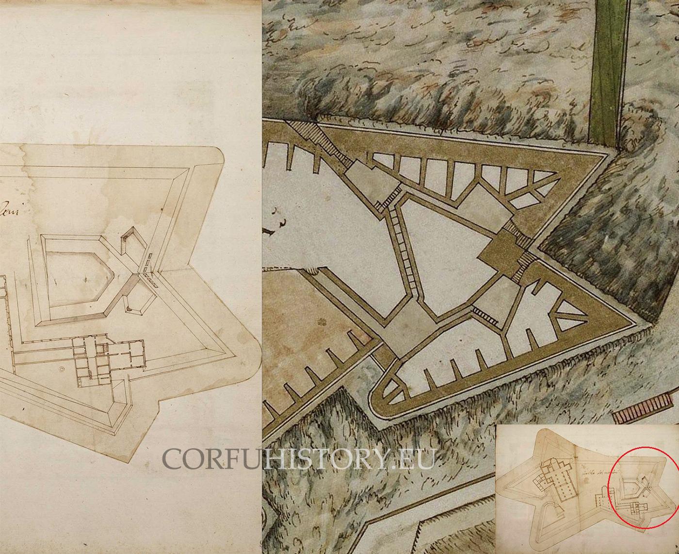 Αριστερά ο ψαλιδωτός προμαχώνας στο Μοντοβί του Πιεμόντε, δεξιά ο νότιος προμαχώνας του Ν. Φρουρίου. Διακρίνονται οι ομοιότητες στα δύο έργα του Βιτέλι.