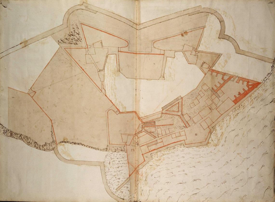 εικ.2. Σχέδιο εργασίας του Vitelli για το Ν. Φρούριο. A.S. Torino. Corfu, cittadella nuova, pianta dei livelli inferiori (AST, Corte, Biblioteca antica, Architettura militare, V, f. 115v- 116)
