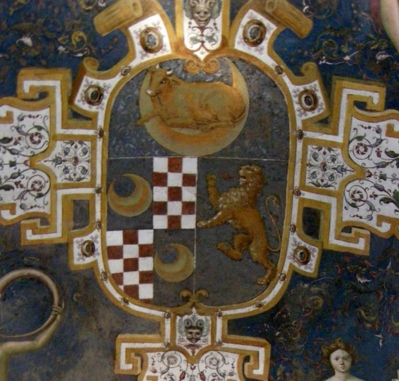 εικ. 1. Τοιχογραφία με το οικόσημο της οικογένειας Vitelli στην βάση της μεγάλης σκάλας της εισόδου του Μεγάρου Viteli, Città di Castello.