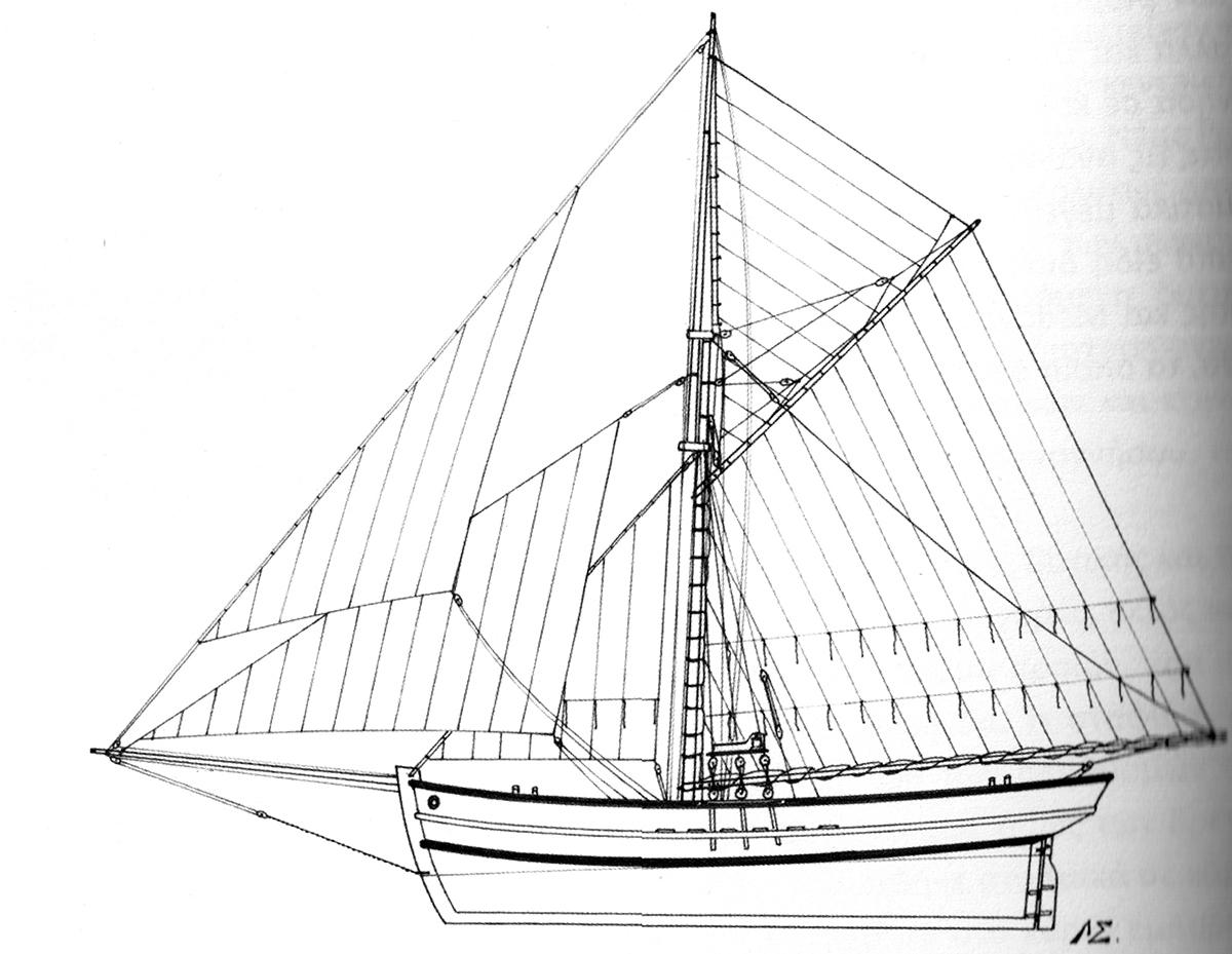 Κότερο: Ταχύ και ευέλικτο σκάφος που χρησιμοποιούνταν ως εμπορικό, επιβατηγό  και ταχυδρομικό (σχ. του Λάμπρου Γ. Σιμάτου)