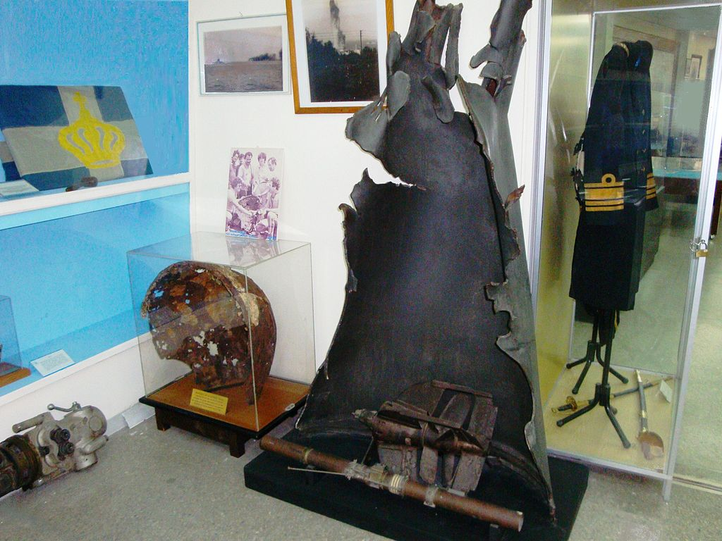 Ουριαίο τμήμα της τορπίλης που βύθισε το ΕΛΛΗ (Ναυτικό Μουσείο Πειραιώς)