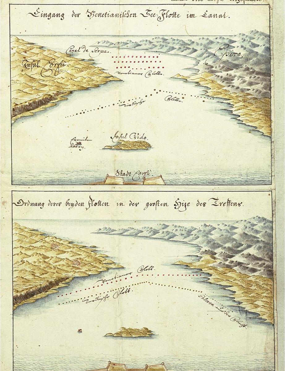 Η προσέγγιση της Βαριάς βενετικής Αρμάδας στο «στενό της Σέρπας» και η διάταξη των αντιπάλων κατά την έναρξη της ναυμαχίας