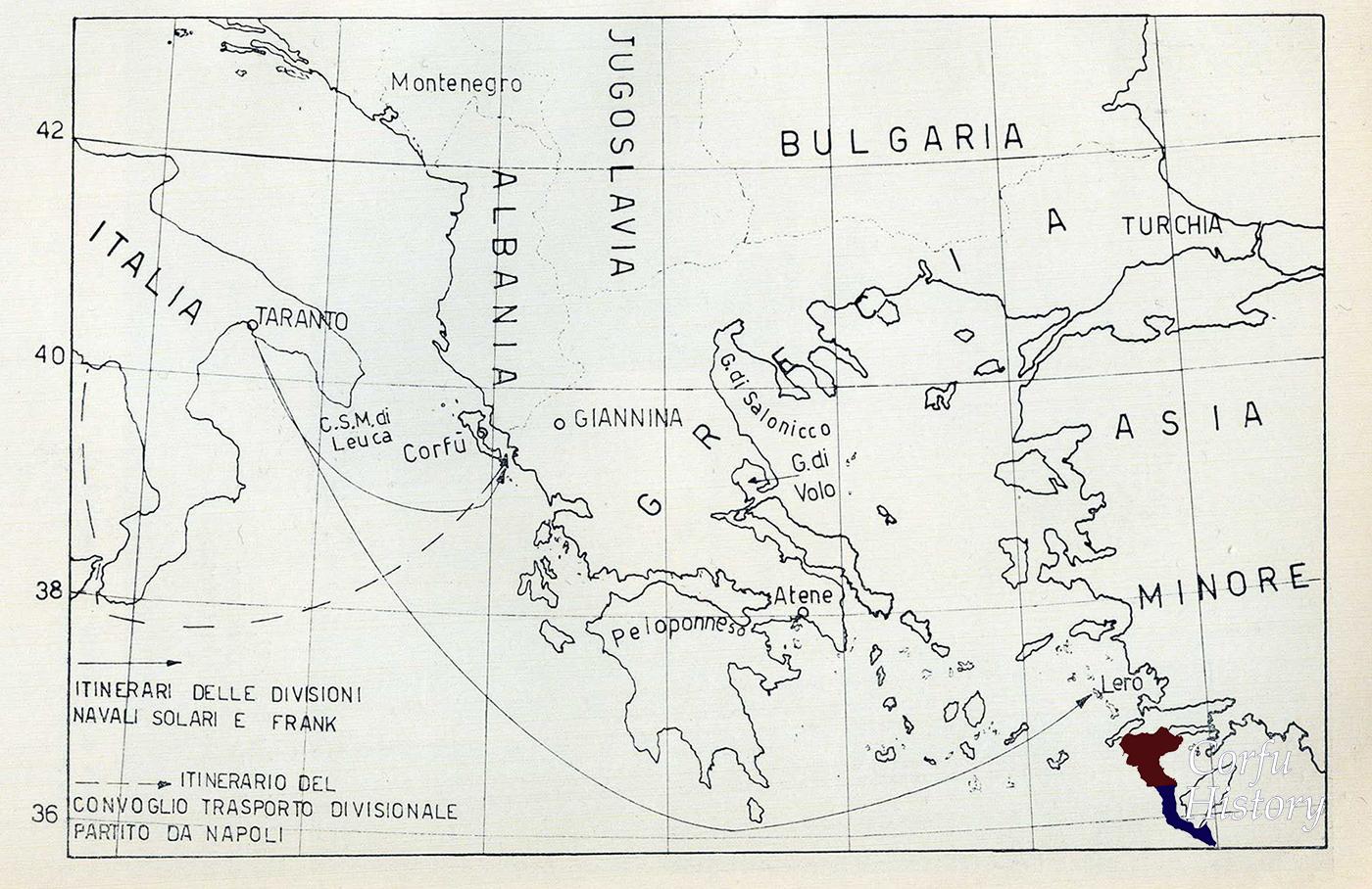 Οι διαδρομές των δύο Ομάδων του Ιταλικού Ναυτικού, μαζί με την διαδρομή της νηοπομπής μεταγωγικών από την Νάπολη που μετέφεραν το κύριο όγκο της μεραρχίας κατοχής.