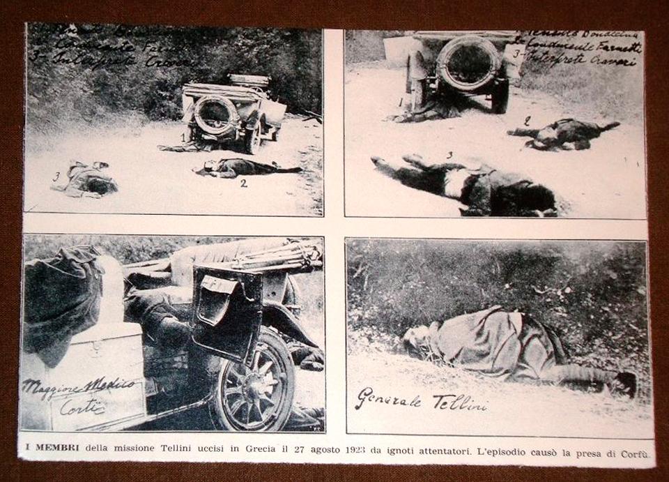 Οι πρώτες φωτογραφίες που τραβήχτηκαν στο σημείο της δολοφονίας της ιταλικής αντιπροσωπείας, ακόμα με τα πτώματα στο έδαφος.