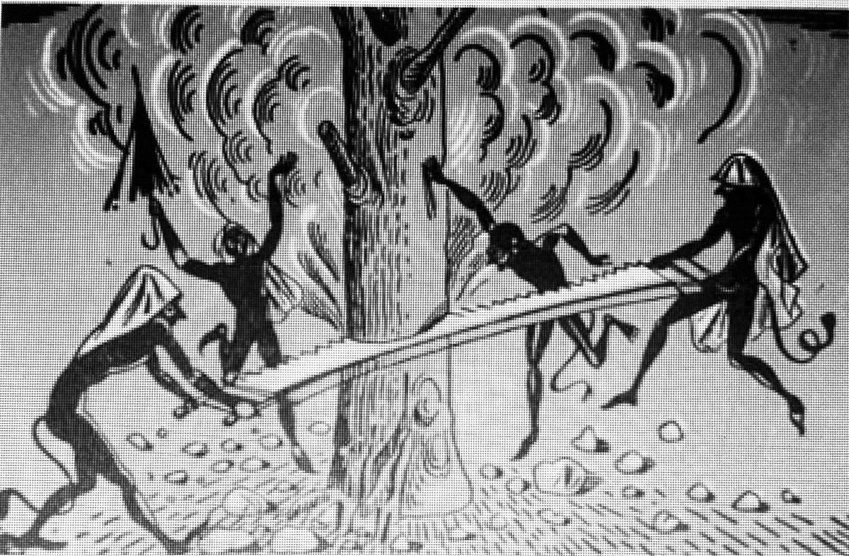 Οι καλικάντζαροι ανεβαίνουν την παραμονή των Χριστουγέννων στη Γη από τα έγκατά της, όπου όλο το χρόνο προσπαθούν να κόψουν το δέντρο που τη στηρίζει και φοβίζουν ή ενοχλούν τους ανθρώπους μέχρι τα Θεοφάνεια.