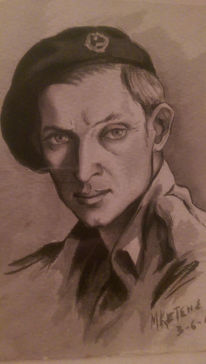 Σκίτσο του Τηλεμαχου Ρούση από τον συγκρατούμενο του Μάνθο Κετση στις 03-06-1944 (οικογ. αρχείο Γιώργου Ρούση).